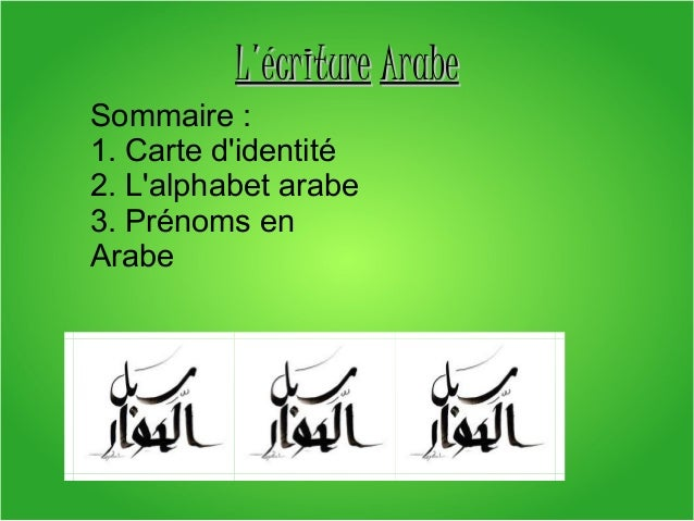 L'écriture Arabe Sommaire: 1.Carted'identité 2.L'alphabetarabe 3.Prénomsen Arabe