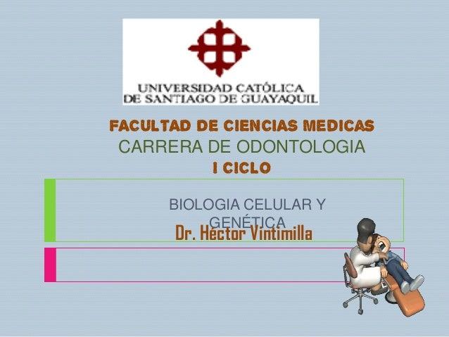 FACULTAD DE CIENCIAS Medicas CARRERA DE ODONTOLOGIA          I CICLO      BIOLOGIA CELULAR Y           GENÉTICA      Dr. H...