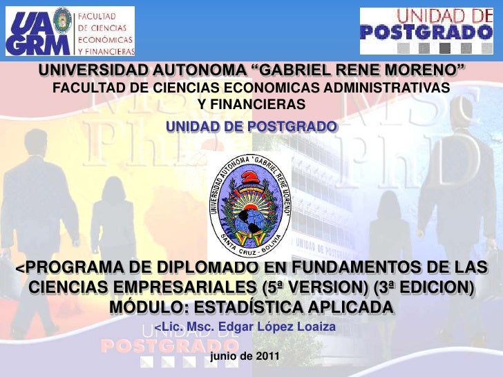 """UNIVERSIDAD AUTONOMA """"GABRIEL RENE MORENO""""FACULTAD DE CIENCIAS ECONOMICAS ADMINISTRATIVAS Y FINANCIERASUNIDAD DE POSTGRADO..."""