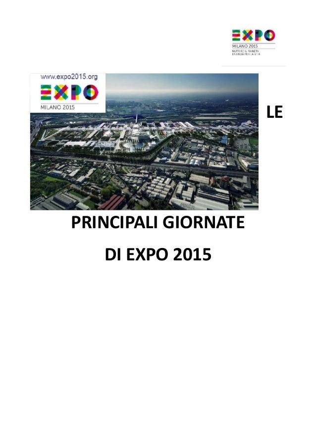 LE PRINCIPALI GIORNATE DI EXPO 2015