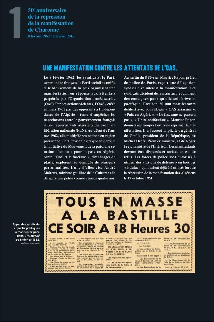 1             50e anniversaire             de la répression             de la manifestation             de Charonne       ...