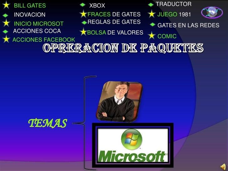 BILL GATES          XBOX               TRADUCTORINOVACION           FRACES DE GATES    JUEGO 1981INICIO MICROSOT     REGLA...