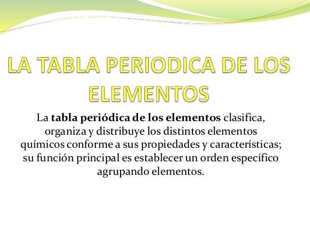 Tabla periodica la tabla peridica de los elementos clasifica organiza y distribuye los distintos elementos qumicos conforme urtaz Image collections