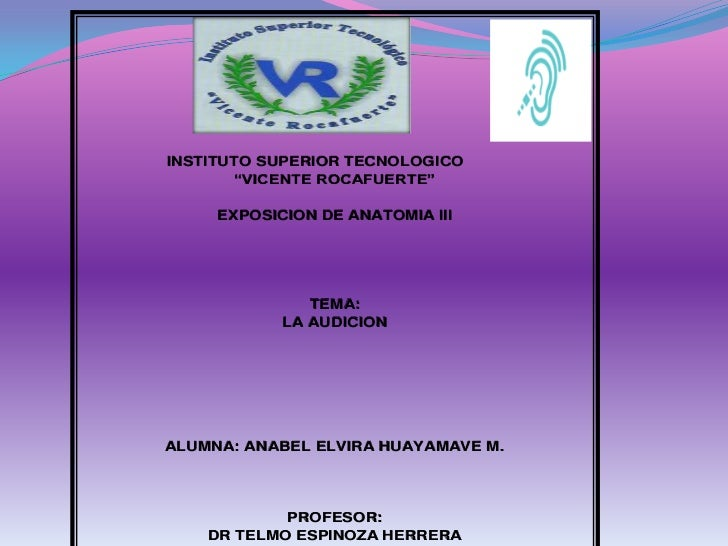 "INSTITUTO SUPERIOR TECNOLOGICO        ""VICENTE ROCAFUERTE""     EXPOSICION DE ANATOMIA III               TEMA:            L..."