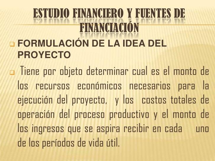 ESTUDIO FINANCIERO Y FUENTES DE FINANCIACIÓN<br /><ul><li>FORMULACIÓN DE LA IDEA DEL PROYECTO