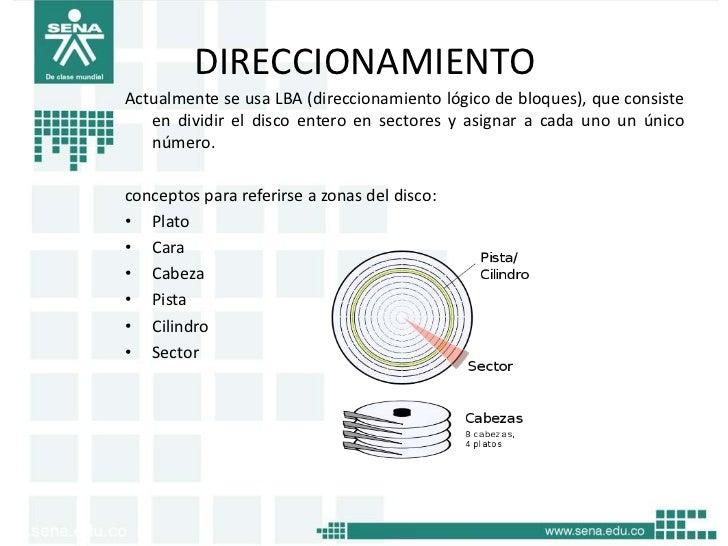 DIRECCIONAMIENTOActualmente se usa LBA (direccionamiento lógico de bloques), que consiste   en dividir el disco entero en ...