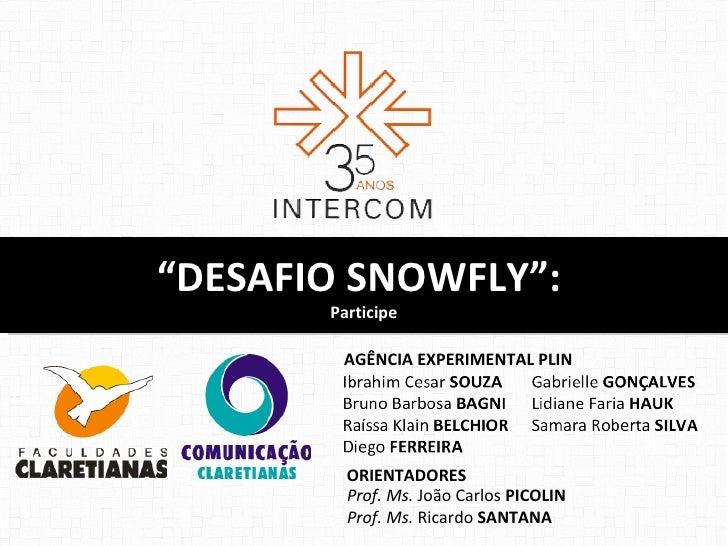 """""""DESAFIO SNOWFLY"""":       Participe        AGÊNCIA EXPERIMENTAL PLIN         ORIENTADORES         Prof. Ms. João Carlos PIC..."""