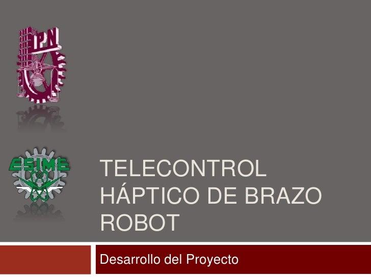 Telecontrol Háptico de Brazo Robot<br />Desarrollo del Proyecto<br />