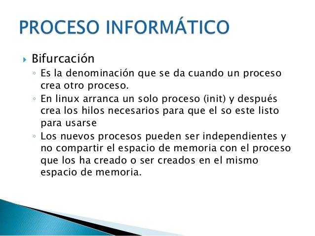  Creación   de un proceso Ejecución   de instrucciones Terminación   de un proceso.
