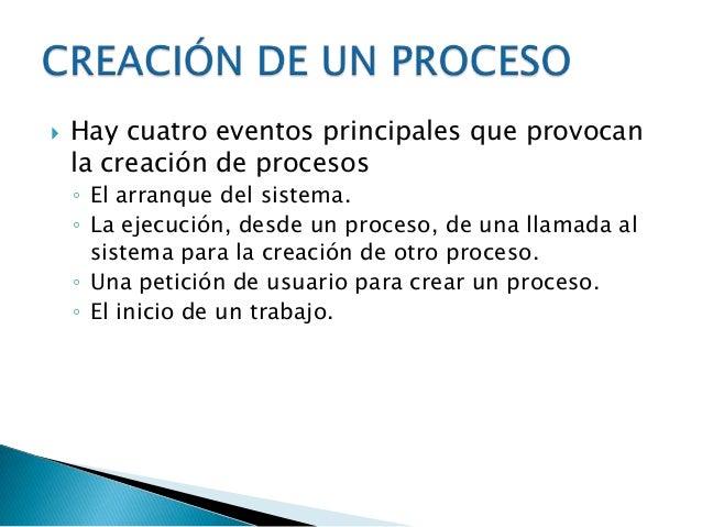    Ejecución    ◦ Es un proceso que está haciendo uso del      procesador   Bloqueado    ◦ No puede ejecutarse hasta que...