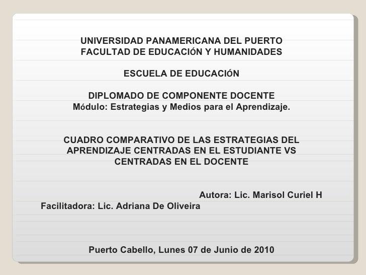 UNIVERSIDAD PANAMERICANA DEL PUERTO FACULTAD DE EDUCACI Ó N Y HUMANIDADES ESCUELA DE EDUCACI Ó N DIPLOMADO DE COMPONENTE D...