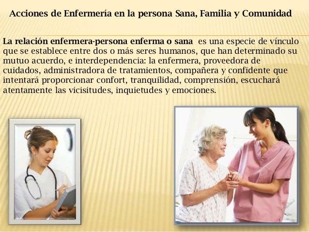 Acciones de Enfermería en la persona Sana, Familia y Comunidad La relación enfermera-persona enferma o sana es una especie...