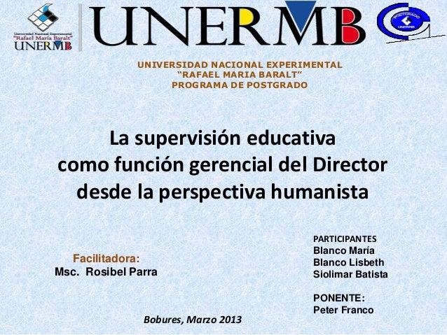 "UNIVERSIDAD NACIONAL EXPERIMENTAL                    ""RAFAEL MARIA BARALT""                   PROGRAMA DE POSTGRADO     La ..."