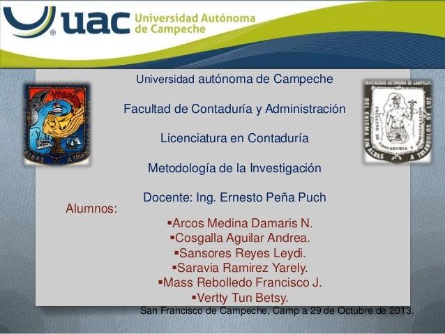 Universidad autónoma de Campeche  Facultad de Contaduría y Administración Licenciatura en Contaduría Metodología de la Inv...