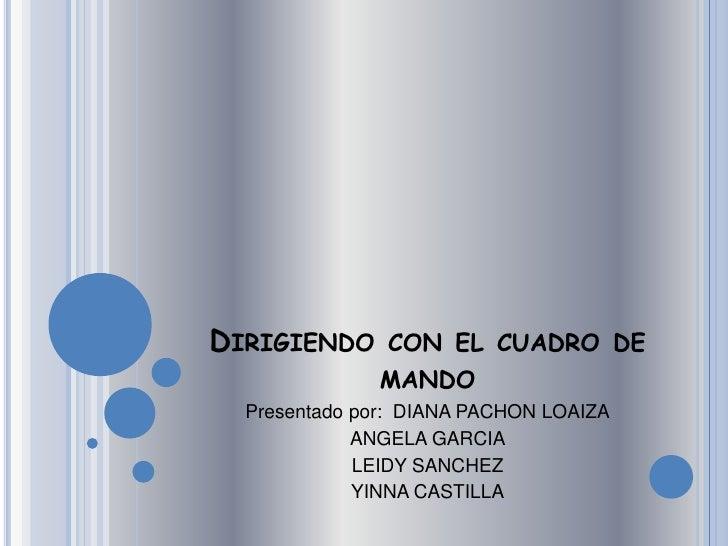 Dirigiendo con el cuadro de mando<br />Presentado por:  DIANA PACHON LOAIZA<br />ANGELA GARCIA<br />LEIDY SANCHEZ<br />YIN...