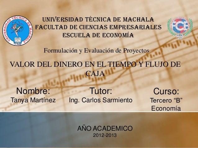 Universidad Técnica de Machala       Facultad de Ciencias Empresariales              Escuela de Economía          Formulac...
