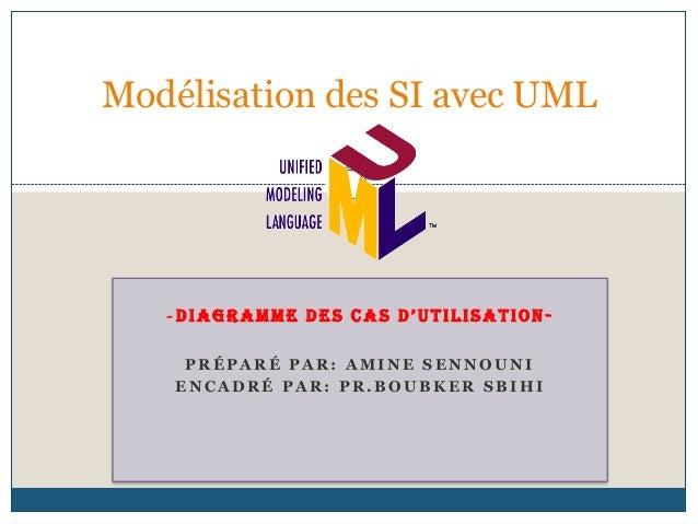 Modélisation des SI avec UML   -DIAGRAMME DES CAS D'UTILISATION-     PRÉPARÉ PAR: AMINE SENNOUNI    ENCADRÉ PAR: PR.BOUBKE...