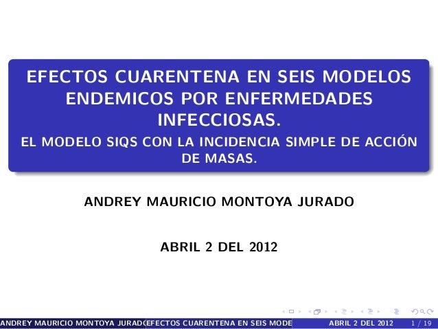 EFECTOS CUARENTENA EN SEIS MODELOS  ENDEMICOS POR ENFERMEDADES  INFECCIOSAS.  EL MODELO SIQS CON LA INCIDENCIA SIMPLE DE A...