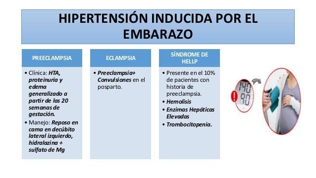 HIPERTENSIÓN INDUCIDA POR EL EMBARAZO PREECLAMPSIA • Clínica: HTA, proteinuria y edema generalizado a partir de las 20 sem...