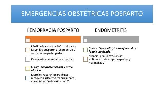 EMERGENCIAS OBSTÉTRICAS POSPARTO HEMORRAGIA POSPARTO Pérdida de sangre > 500 mL durante las 24 hrs posparto o luego de 1 o...