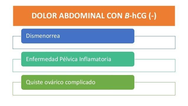 DOLOR ABDOMINAL CON B-hCG (-) Dismenorrea Enfermedad Pélvica Inflamatoria Quiste ovárico complicado