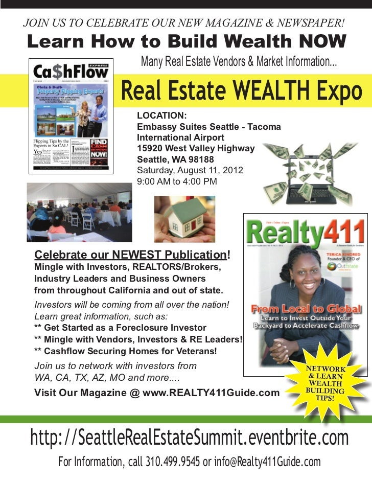 JOIN US TO CELEBRATE OUR NEW MAGAZINE & NEWSPAPER!Learn How to Build Wealth NOW                          Many Real Estate ...