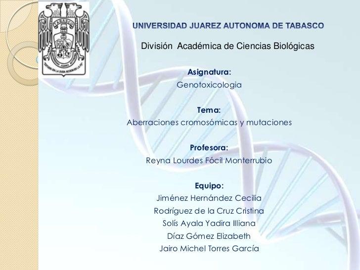 UNIVERSIDAD JUAREZ AUTONOMA DE TABASCO<br />División  Académica de Ciencias Biológicas<br />Asignatura:<br />Genotoxicolog...