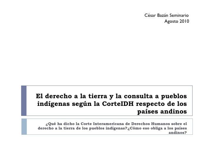 El derecho a la tierra y la consulta a pueblos indígenas según la CorteIDH respecto de los países andinos ¿Qué ha dicho la...