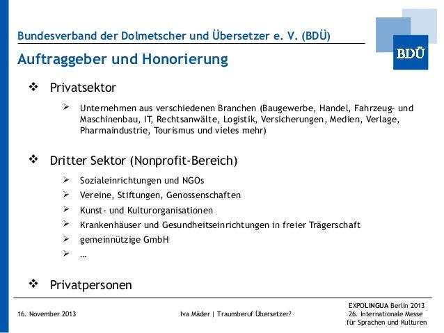 Bundesverband der Dolmetscher und Übersetzer e.V. (BDÜ)  Auftraggeber und Honorierung  Privatsektor   Unternehmen aus v...