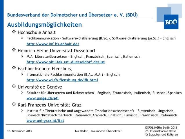 Bundesverband der Dolmetscher und Übersetzer e.V. (BDÜ)  Ausbildungsmöglichkeiten  Hochschule Anhalt  Fachkommunikation...