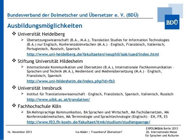 Bundesverband der Dolmetscher und Übersetzer e.V. (BDÜ)  Ausbildungsmöglichkeiten  Universität Heidelberg  Übersetzungs...