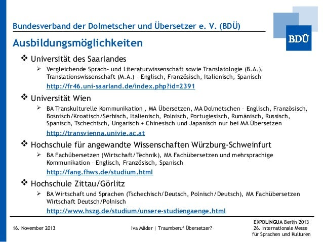 Bundesverband der Dolmetscher und Übersetzer e.V. (BDÜ)  Ausbildungsmöglichkeiten  Universität des Saarlandes  Vergleic...