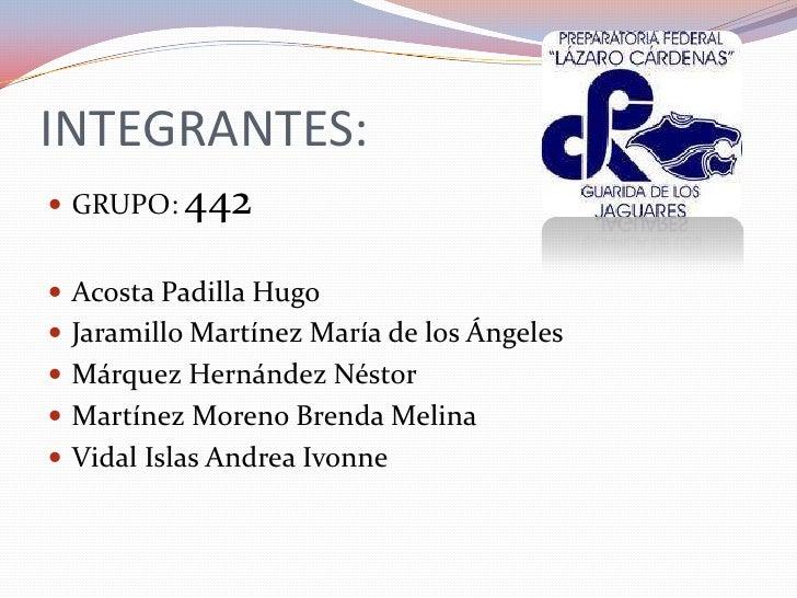 INTEGRANTES: GRUPO:   442 Acosta Padilla Hugo Jaramillo Martínez María de los Ángeles Márquez Hernández Néstor Martín...