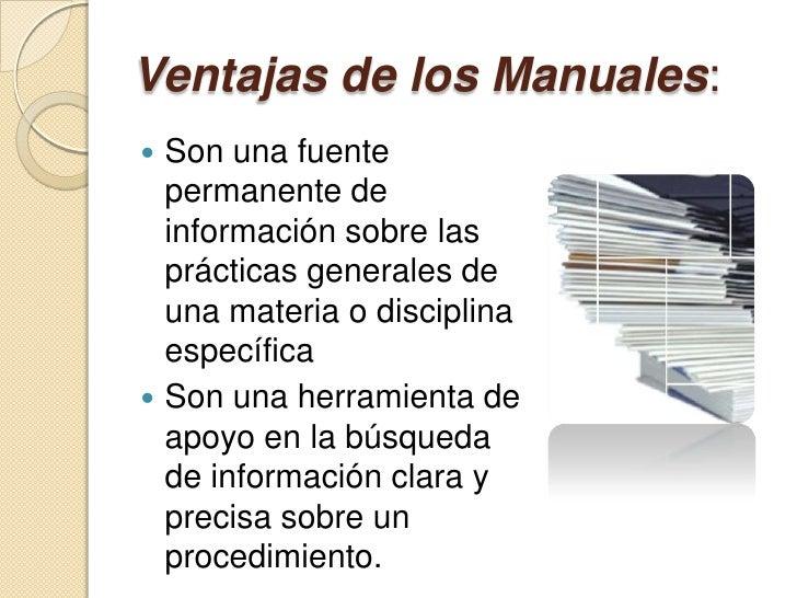 Ventajas y desventajas en la elaboracion de manuales ...