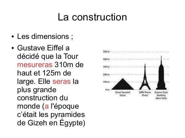 La tour eiffel - Dimension de la tour eiffel ...