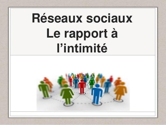 Réseaux sociaux Le rapport à l'intimité