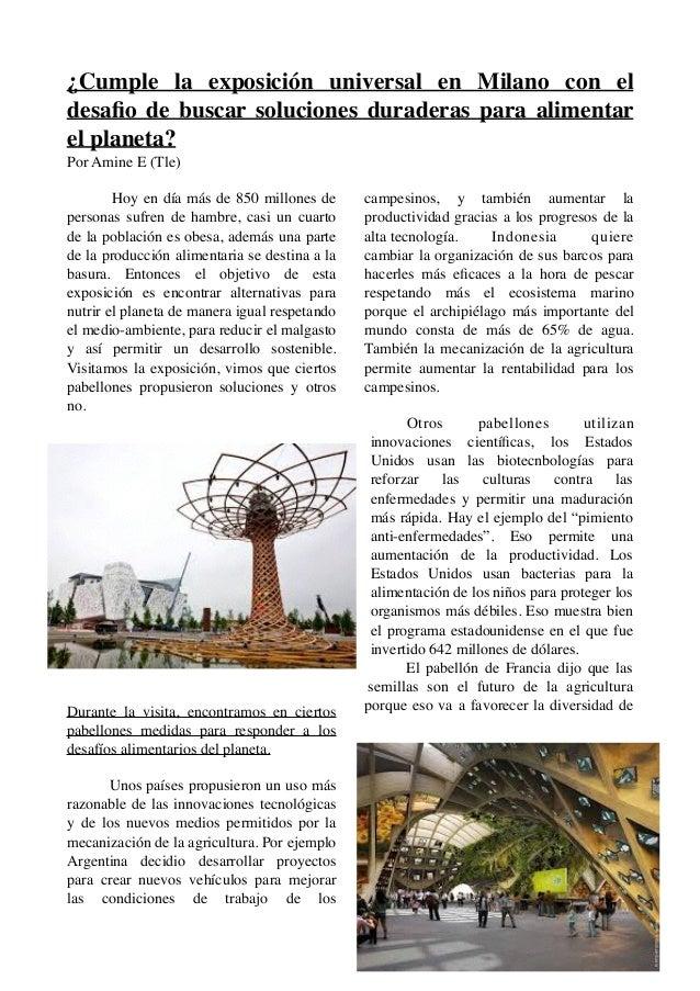 ¿Cumple la exposición universal en Milano con el desafio de buscar soluciones duraderas para alimentar el planeta? Por Amin...