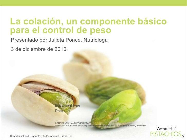 La colación, un componente básico para el control de peso  Presentado por Julieta Ponce, Nutrióloga  3 de diciembre de 201...