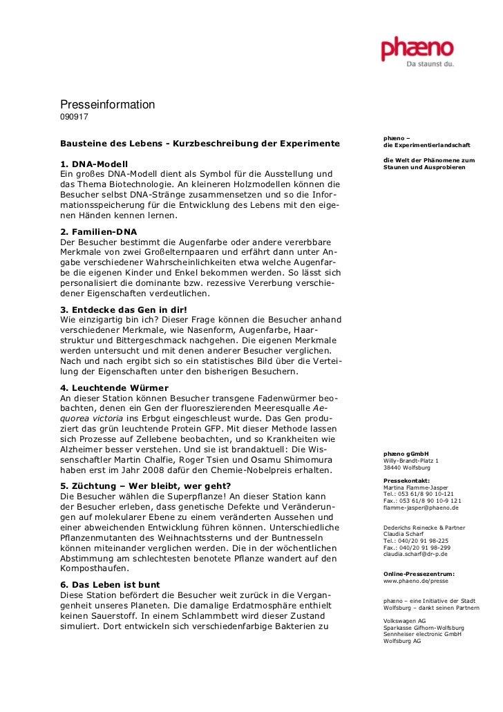 Presseinformation090917                                                                       phæno –Bausteine des Lebens ...