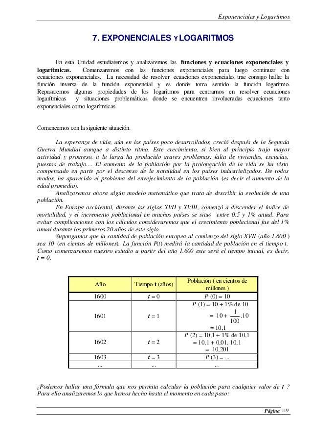 Exponenciales y Logarítmos Página 119 7. EXPONENCIALES Y LOGARITMOS En esta Unidad estudiaremos y analizaremos las funcion...