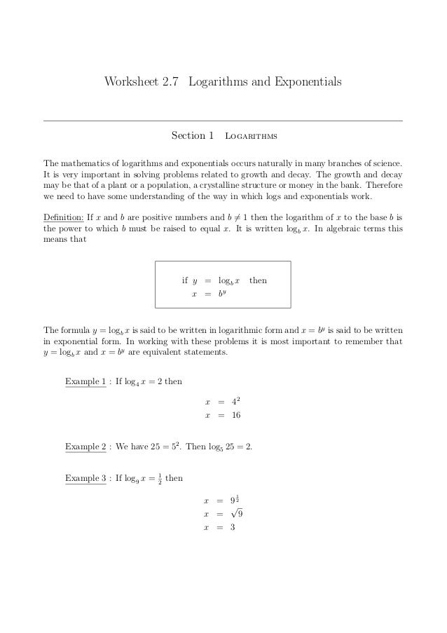 Logarithmic And Exponential Form Worksheet Ganda Fullring Co