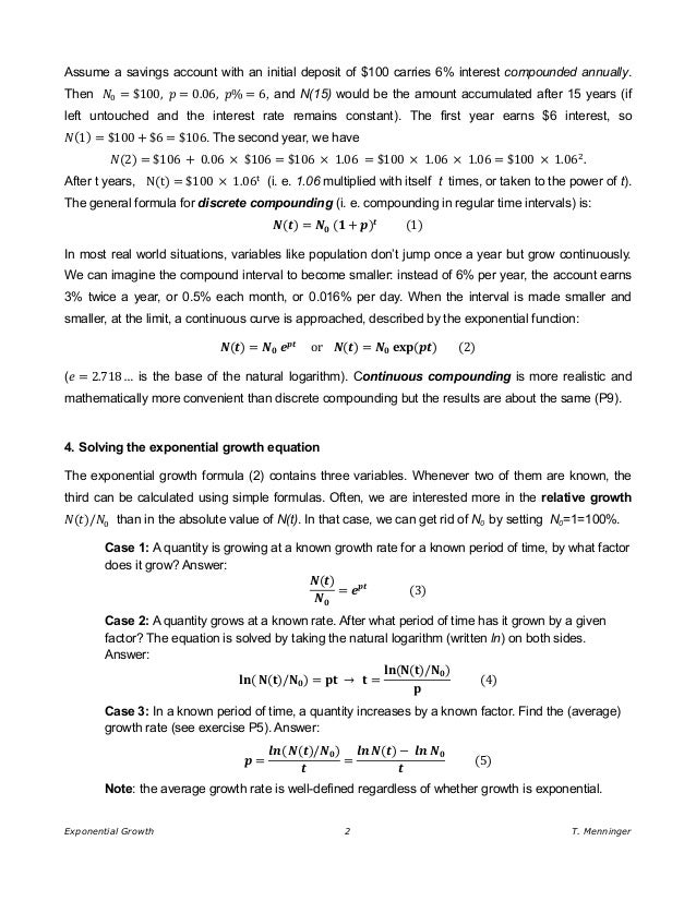 Exponential Growth Doubling Time and the Rule of 70 – Exponential Growth Worksheet