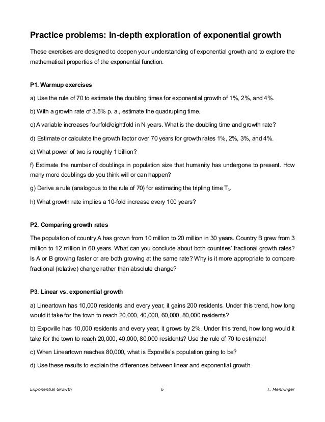 Exponential Growth Doubling Time and the Rule of 70 – Exponential Functions Word Problems Worksheet