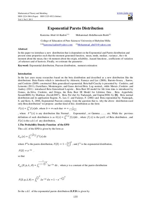 Mathematical Theory and Modeling www.iiste.orgISSN 2224-5804 (Paper) ISSN 2225-0522 (Online)Vol.3, No.5, 2013135Exponentia...
