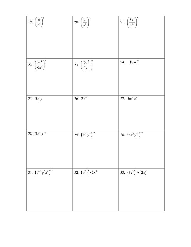 Exponent review 48 – Exponent Rules Worksheet