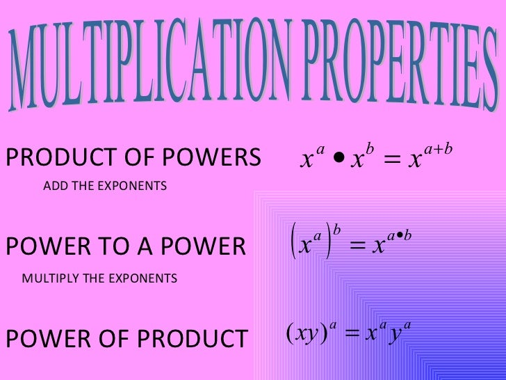 PRODUCT OF POWERS POWER TO A POWER POWER OF PRODUCT ADD THE EXPONENTS MULTIPLY THE EXPONENTS MULTIPLICATION PROPERTIES