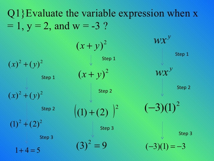 Q1}Evaluate the variable expression when x  = 1, y = 2, and w = -3 ? Step 1 Step 2 Step 3 Step 1 Step 2 Step 3 Step 1 Step...