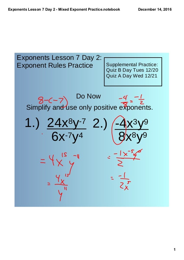Exponents Lesson 7 Day 2 Mixed Exponent Practice