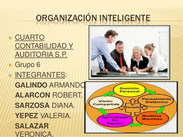 ORGANIZACIÓN INTELIGENTE      CUARTO CONTABILIDAD Y AUDITORIA S.P. Grupo 6 INTEGRANTES: GALINDO ARMANDO. ALARCON ROBERT...