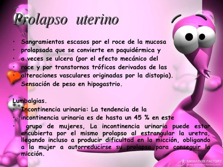 Prolapso   uterino   <ul><li>Sangramientos escasos por el roce de la mucosa  </li></ul><ul><li>prolapsada que se convierte...
